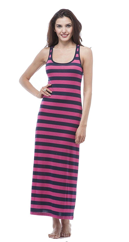 Women S Striped Long Full Length Racerback Tank Dress Hotpink Navy Cr11xlyjlgx Racerback Tank Dress Dresses Fashion Clothes Women [ 1500 x 802 Pixel ]
