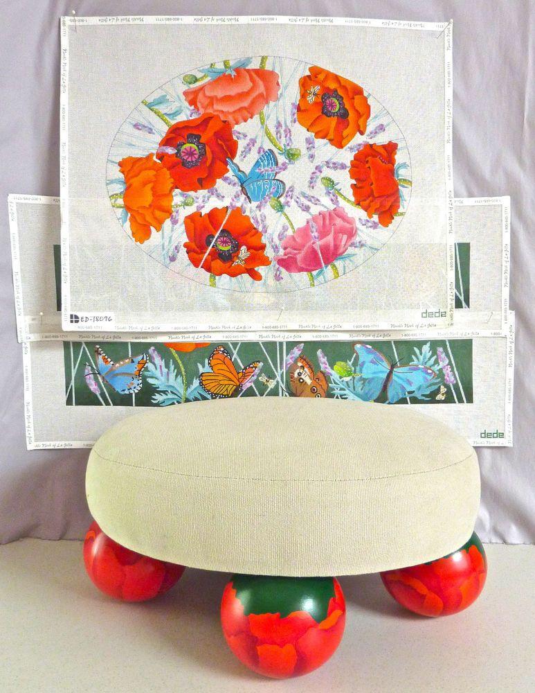 Dede:  Poppies & Butterflies handpainted needlepoint canvases + footstool #Dede #Handpainted