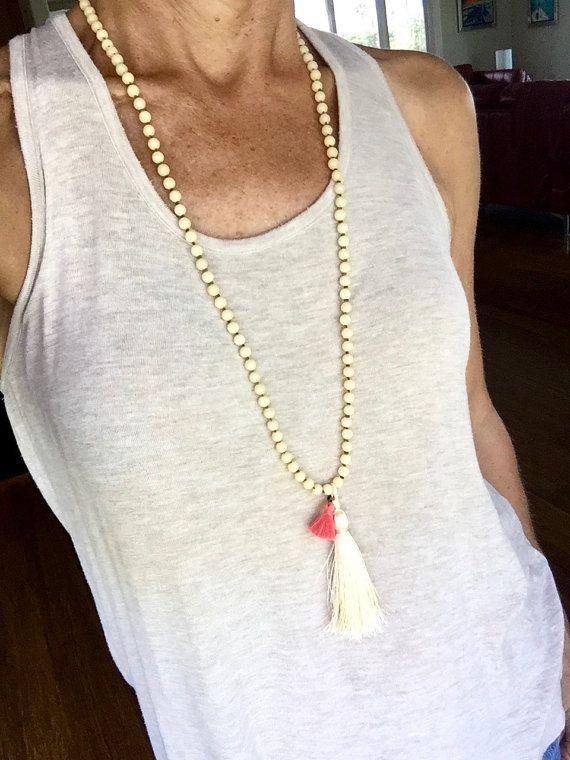 Long Tassel Mala Necklace  Peach Jade Beads  by MartiniInspired
