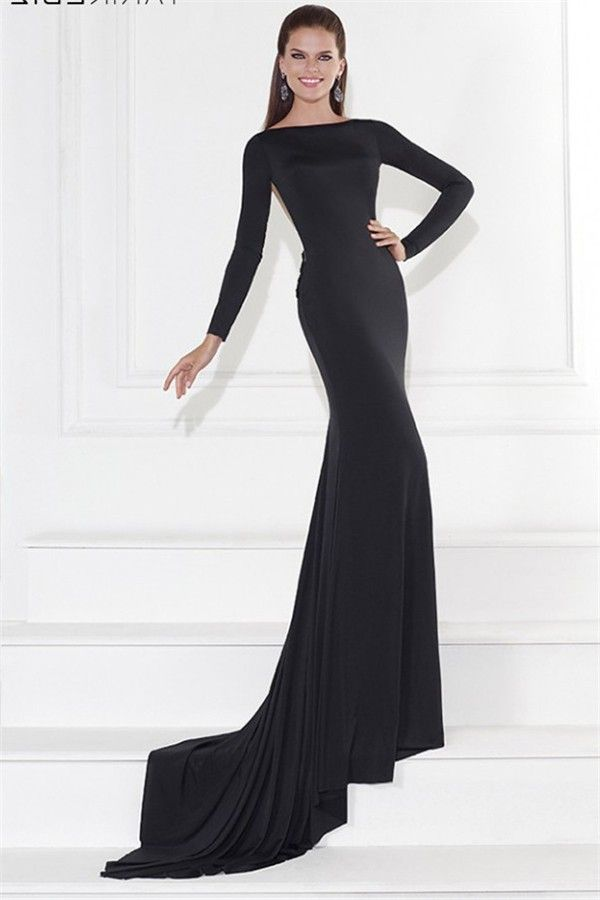 822de2896d Fitted Long Sleeve Sheer Illusion Back Black Jersey Evening Prom Dress