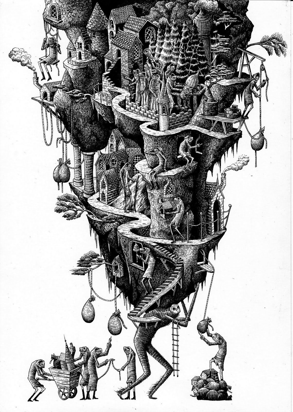 Phlegm, civilisation (pt1 of 3) 2012, A4 dip pen and black ink.