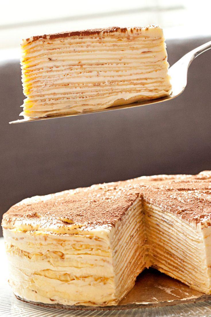 Mille-Crepe Tiramisu Birthday Cake | Recipe | Comfort Food Recipes | Cake, Tiramisu Cake, Desserts