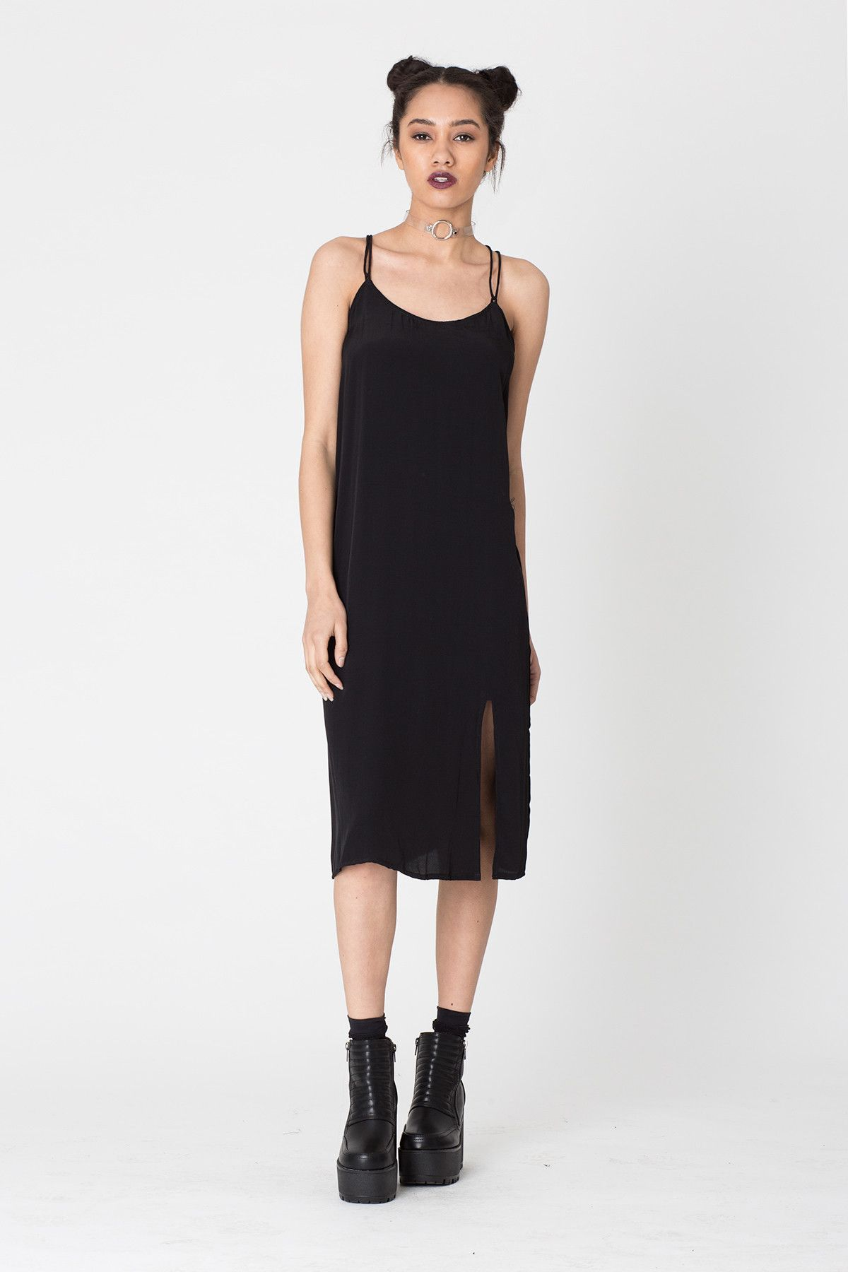 black slip dress - Google Search | My college clothes list ...
