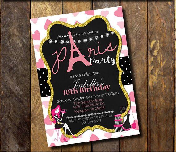 Paris InvitationParis Birthday InvitationParis Themed Invite