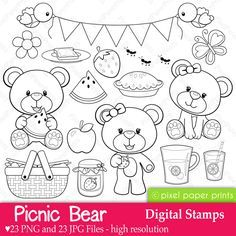 Picnic Bear - Digital stamps - Digital Stamps - Mygrafico.com