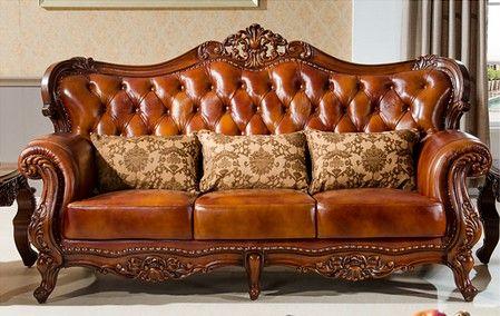 Hand Carving Wood Leather Sofa Set European Sofa Set Mdescs N26 10col1 3 216 00 Online Shopping China Dizajn Evropejskih Domov Antikvarnyj Divan Mebel