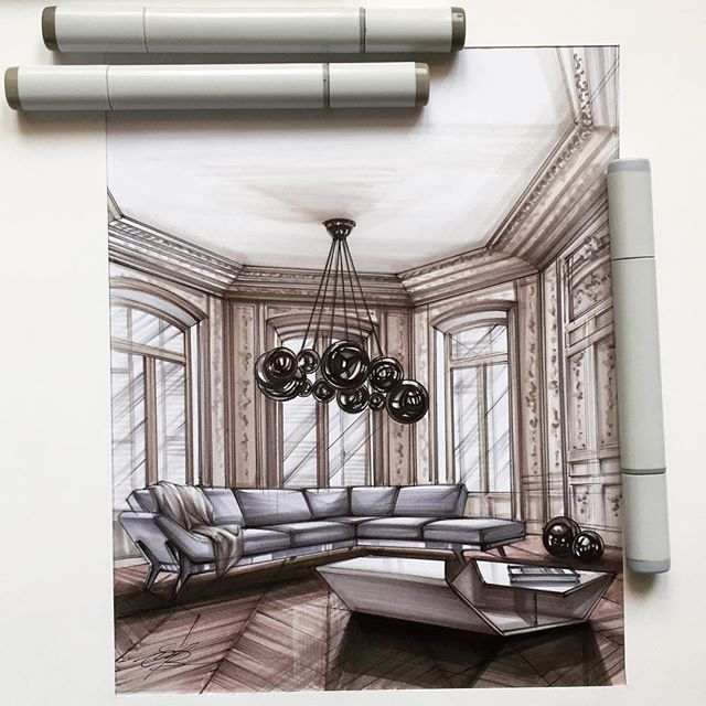 51 Modern Living Room Design From Talented Architects: #sketch #scetching #interior #interiordesign