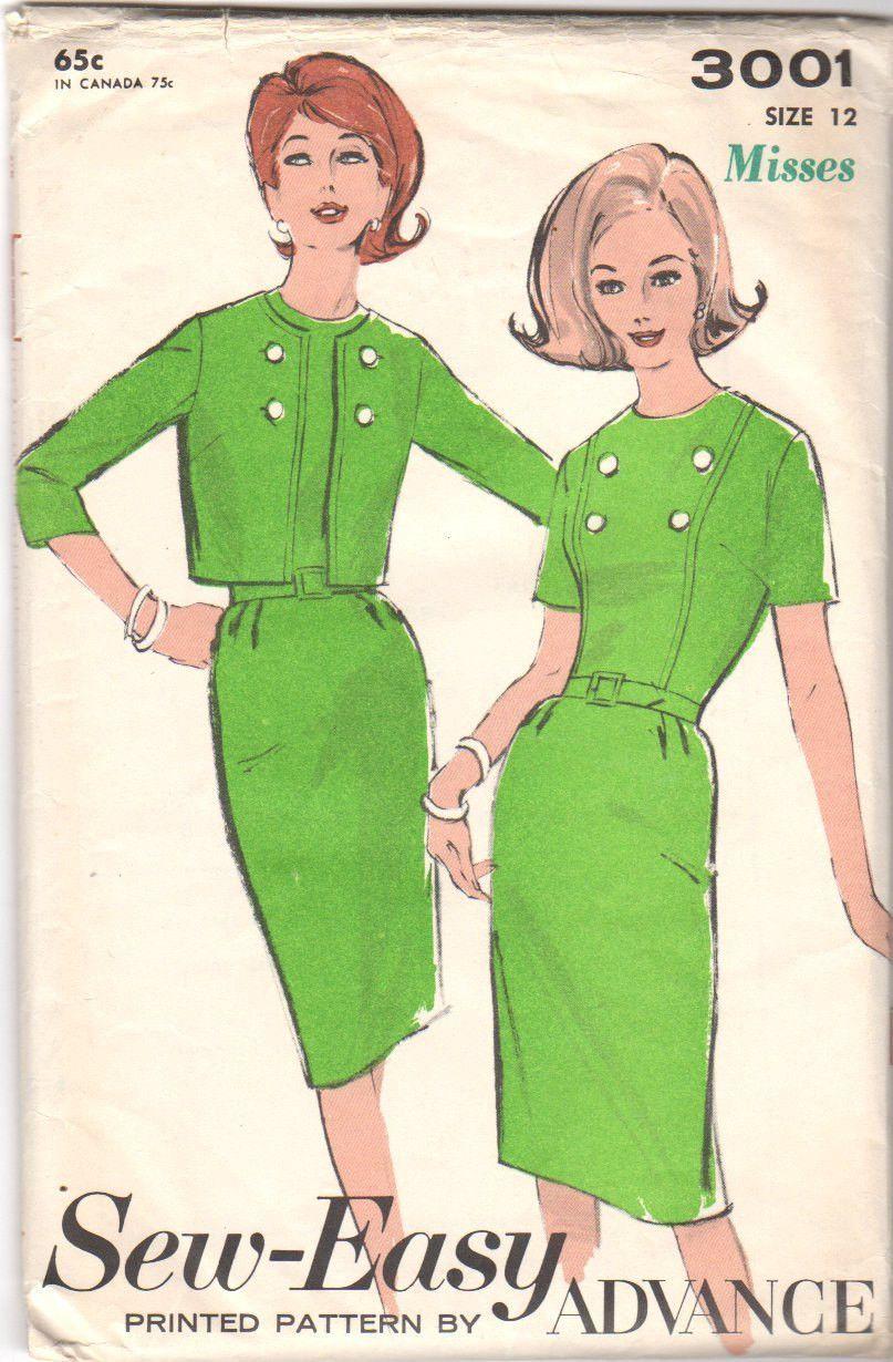Vintage 1960s ladies dress sewing pattern advance 3001 womens vintage 1960s ladies dress sewing pattern advance 3001 womens jacket bust 32 waist 25 jeuxipadfo Choice Image
