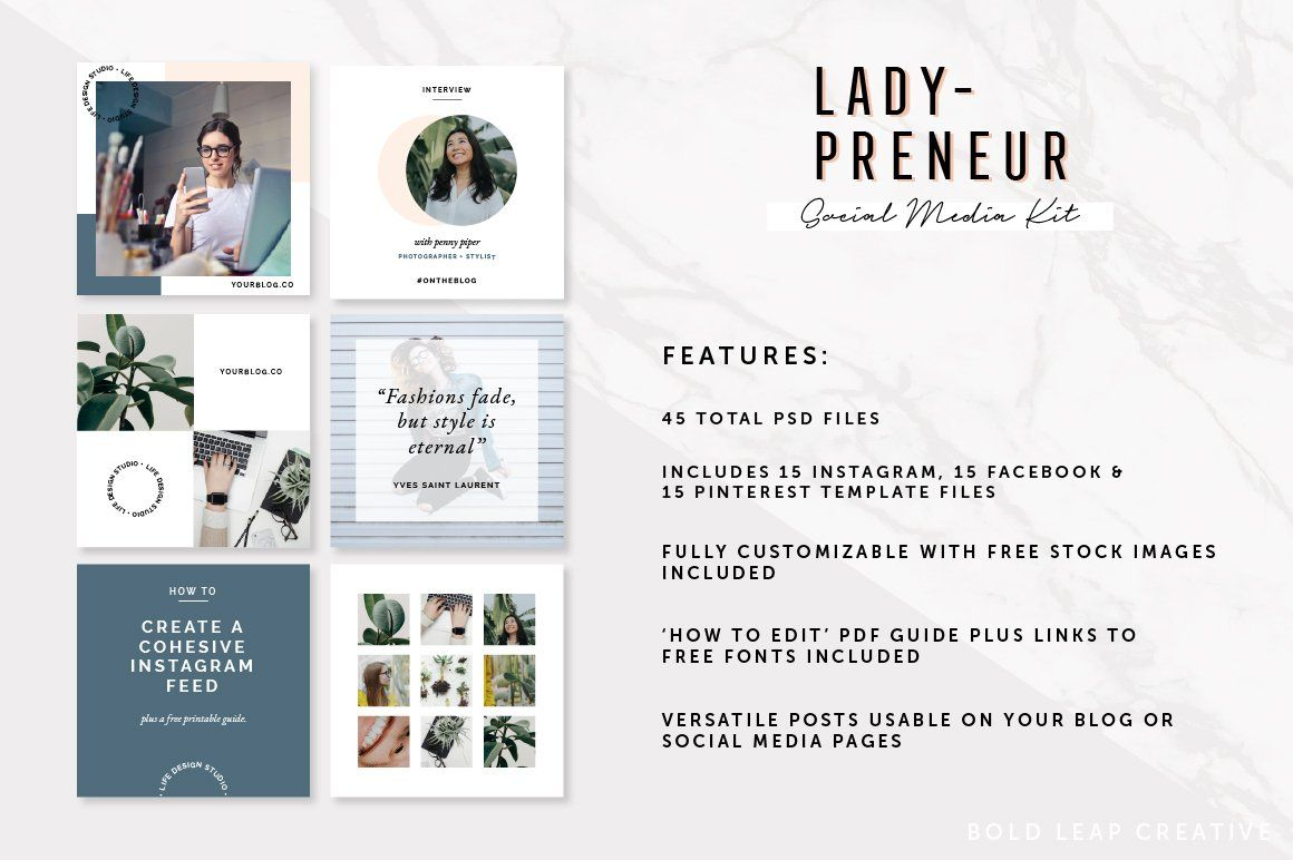 Ladypreneur Social Media Pack Instagram Pinterest Facebook Social Social Media Post Templates Social Media Pack Social Media Social Media Design