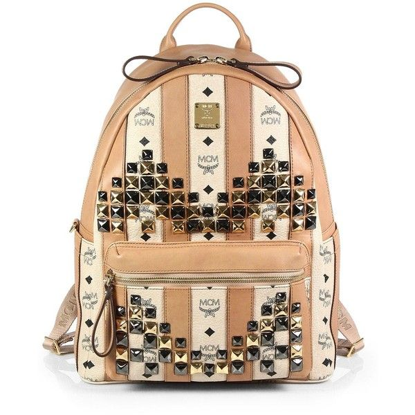 bf039b8176e4 MCM Stark Studded Backpack ($1,130) ❤ liked on Polyvore featuring bags,  backpacks, mcm, purses, mcm bags, leather backpack, leather bags, star  backpack and ...