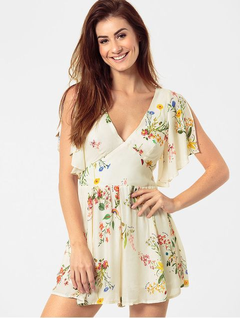 4aed2337c45e9a Macaquinho Farm Floral Migas Off White - Glamour | looks | Looks ...