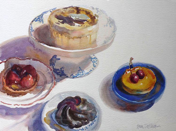 Pastries a la France by Erin Dertner Watercolor ~ 11 x 15