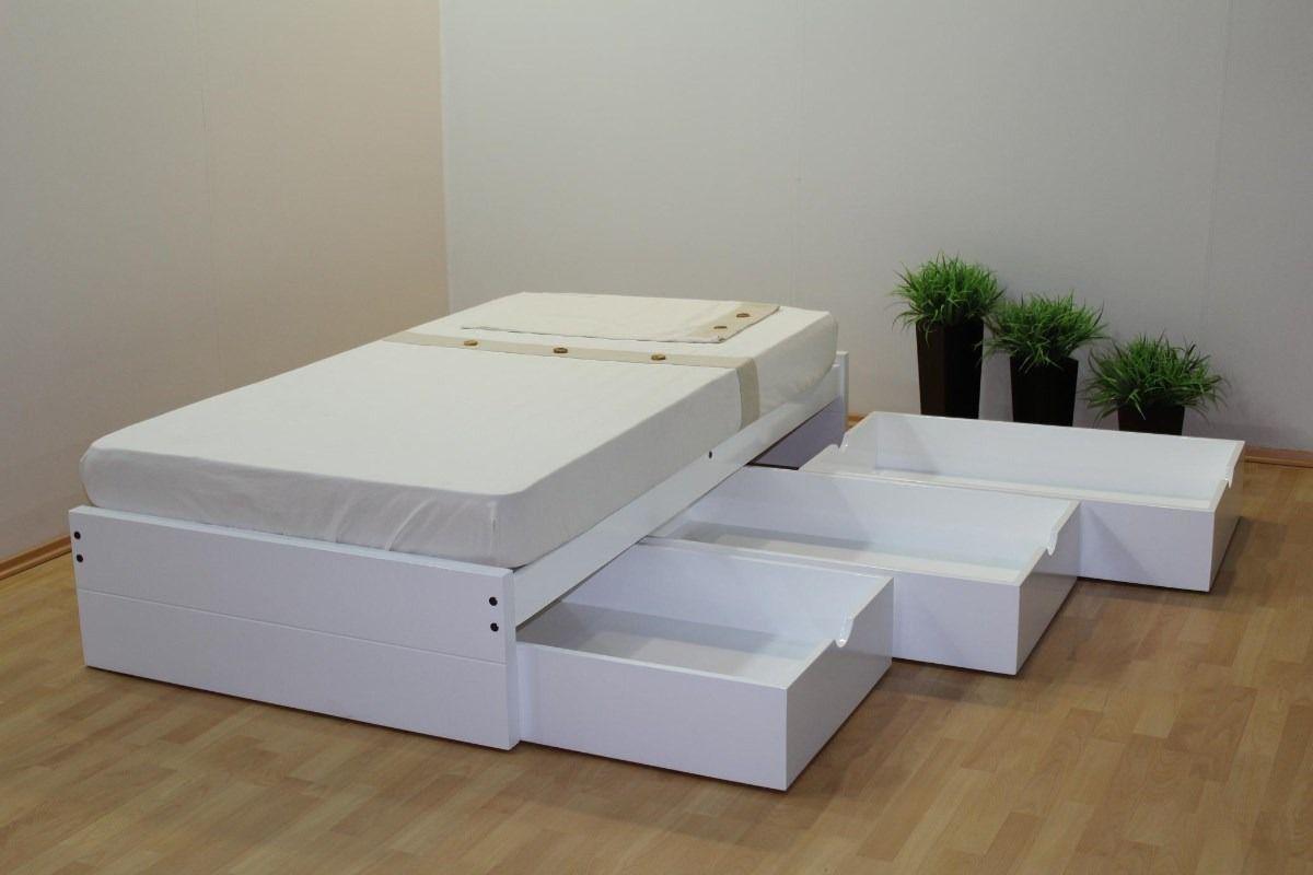 Base individual tambor con tres cajones blanco mueblesgm for Base cama individual