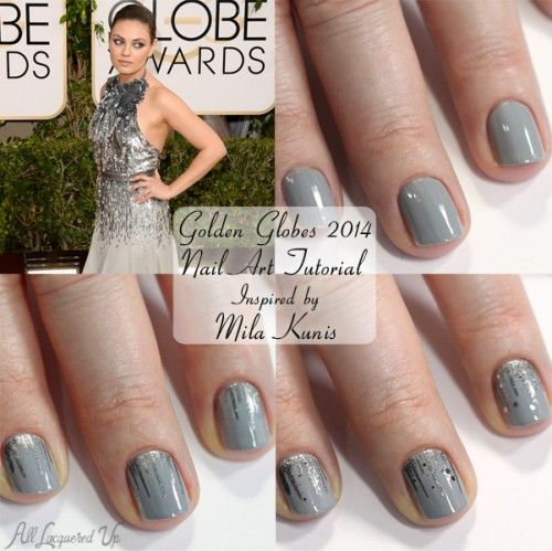 "By Michelle Mismas from ""All Lacquered Up"" ... Nail Art Tutorial for Mila Kunis' Golden Globes nails ♥"