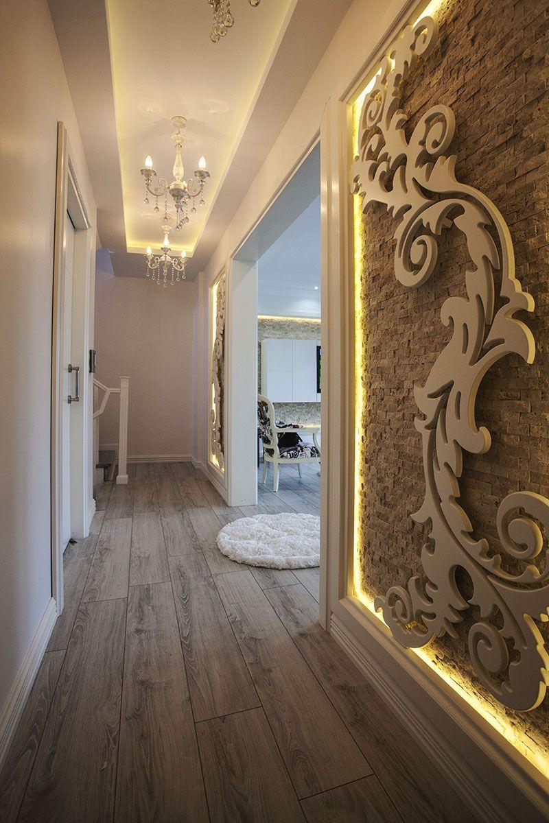 Decorative Wood Patterned Wall Paneling Lounge Dekoratif Ahşap Desenli Duvar Lambri Salon