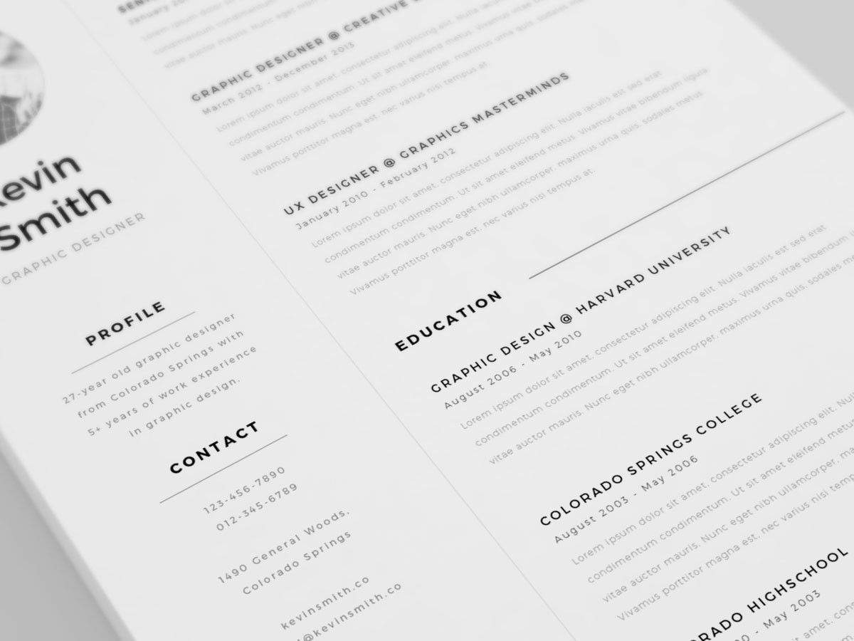 Free Clean And Minimal Resume Template  Design