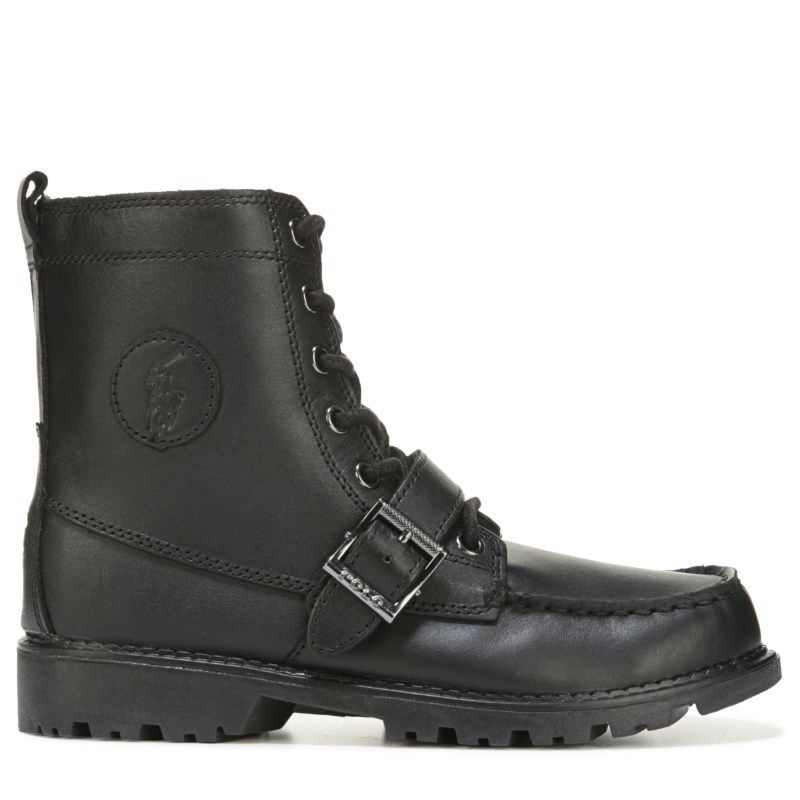 Kids Polo by Ralph Lauren Ranger High II Lace Up Boot Grade School Black Leather