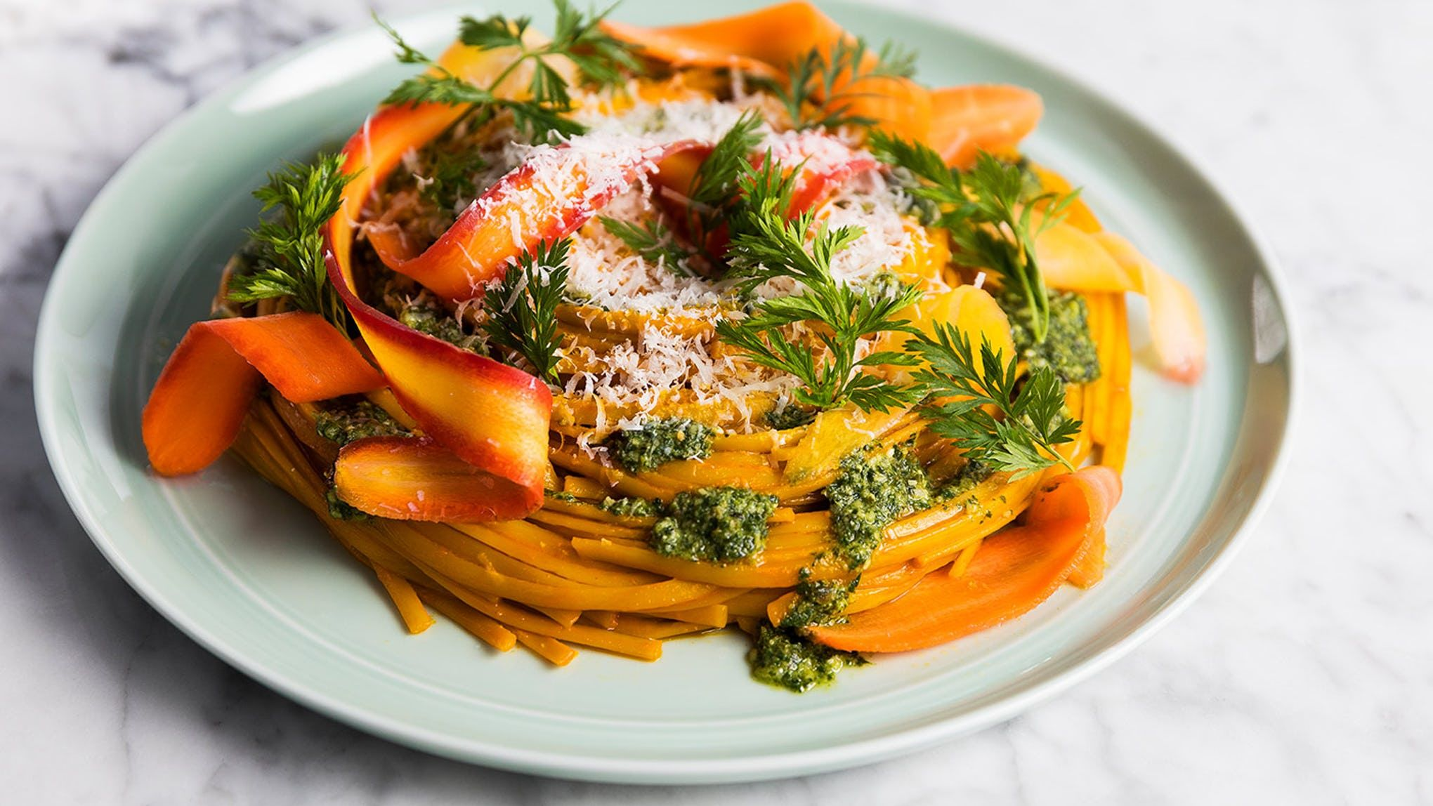 One-Pan Carrot Linguine with Carrot-Top Pesto