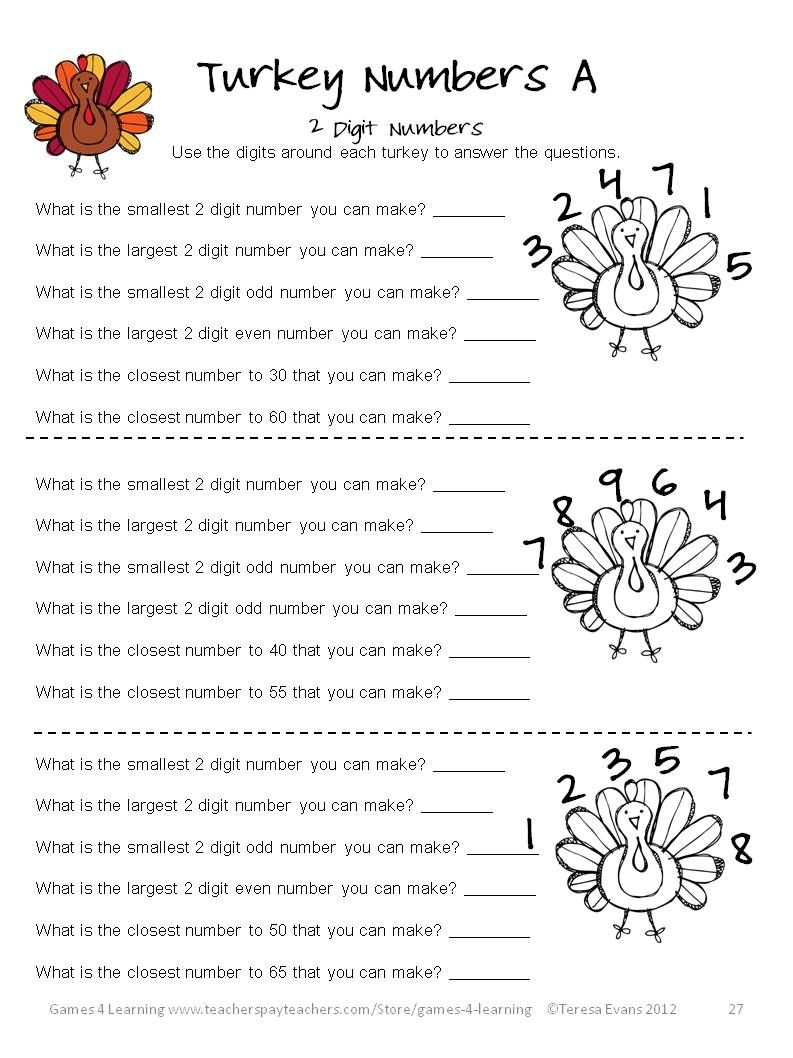 Thanksgiving Math Games Puzzles and Brain Teasers   Thanksgiving math [ 1058 x 793 Pixel ]
