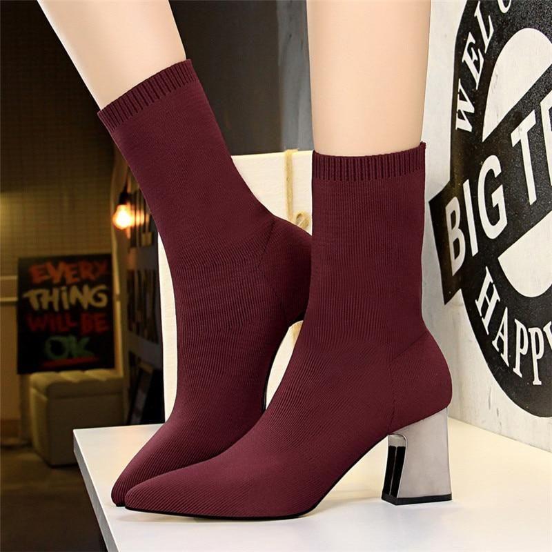 Elastic Stretch Boots Sock Heels