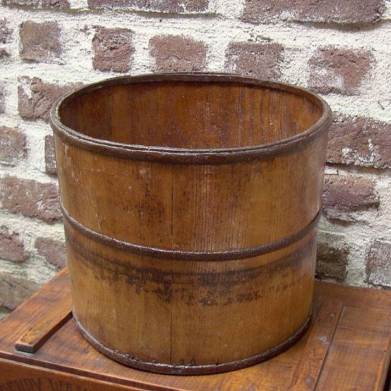 Antique Wooden Grain Bucket Crates Boxes Drawers Buckets Tin