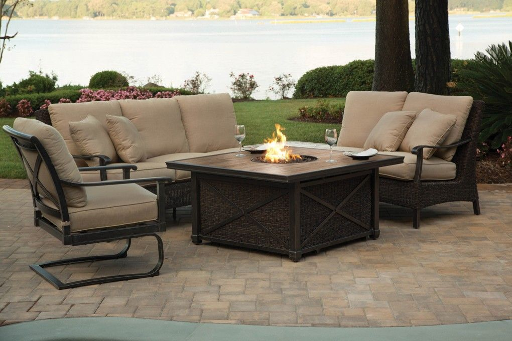 Outdoor Sectional Wicker Patio Furniture With Modern Fire Pit Haven Cabanacoast Pits Pinterest