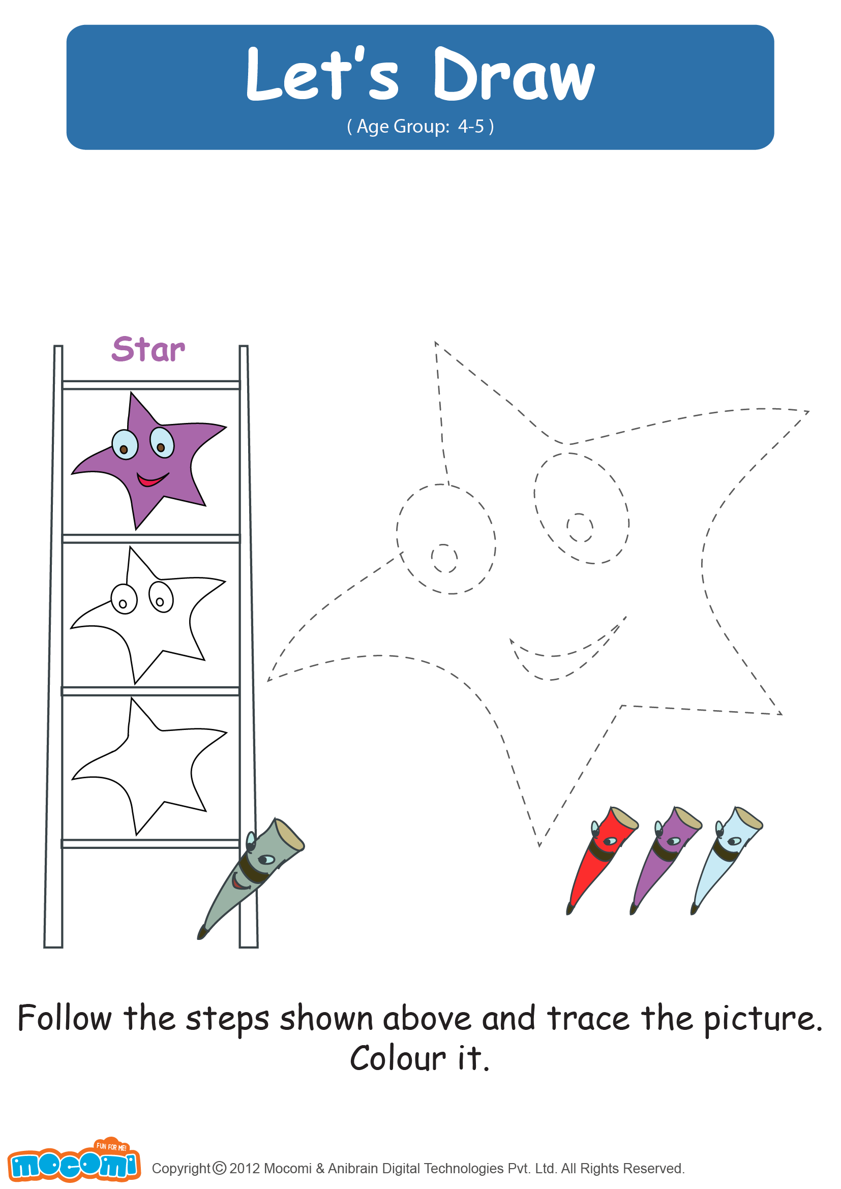 Lets Draw A Star Drawing Worksheets For Kids English Worksheets