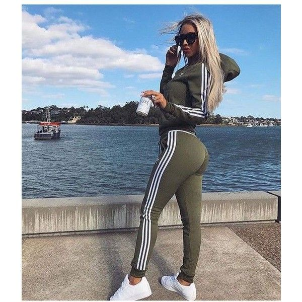 4e34f375 liked on Polyvore featuring activewear, activewear pants, blue track suit, track  suit, blue sweat suit, jogger sweatsuit and army sweatpants