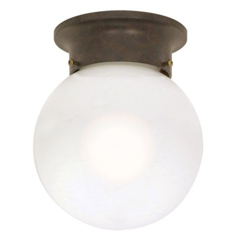 I can see something simple like this for the hallway outside of the bathroom and study that is near the foyer light. $11  Old Bronze One-Light Flush Mount with White Ball Glass