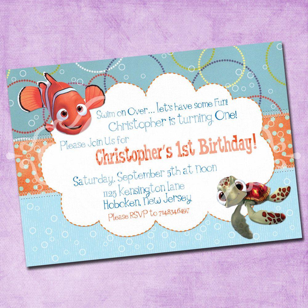 Finding Nemo Birthday Invitation | Finding Nemo Birthday | Pinterest ...