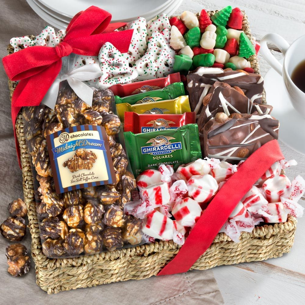 Holiday classic chocolate candy crunch gift basket