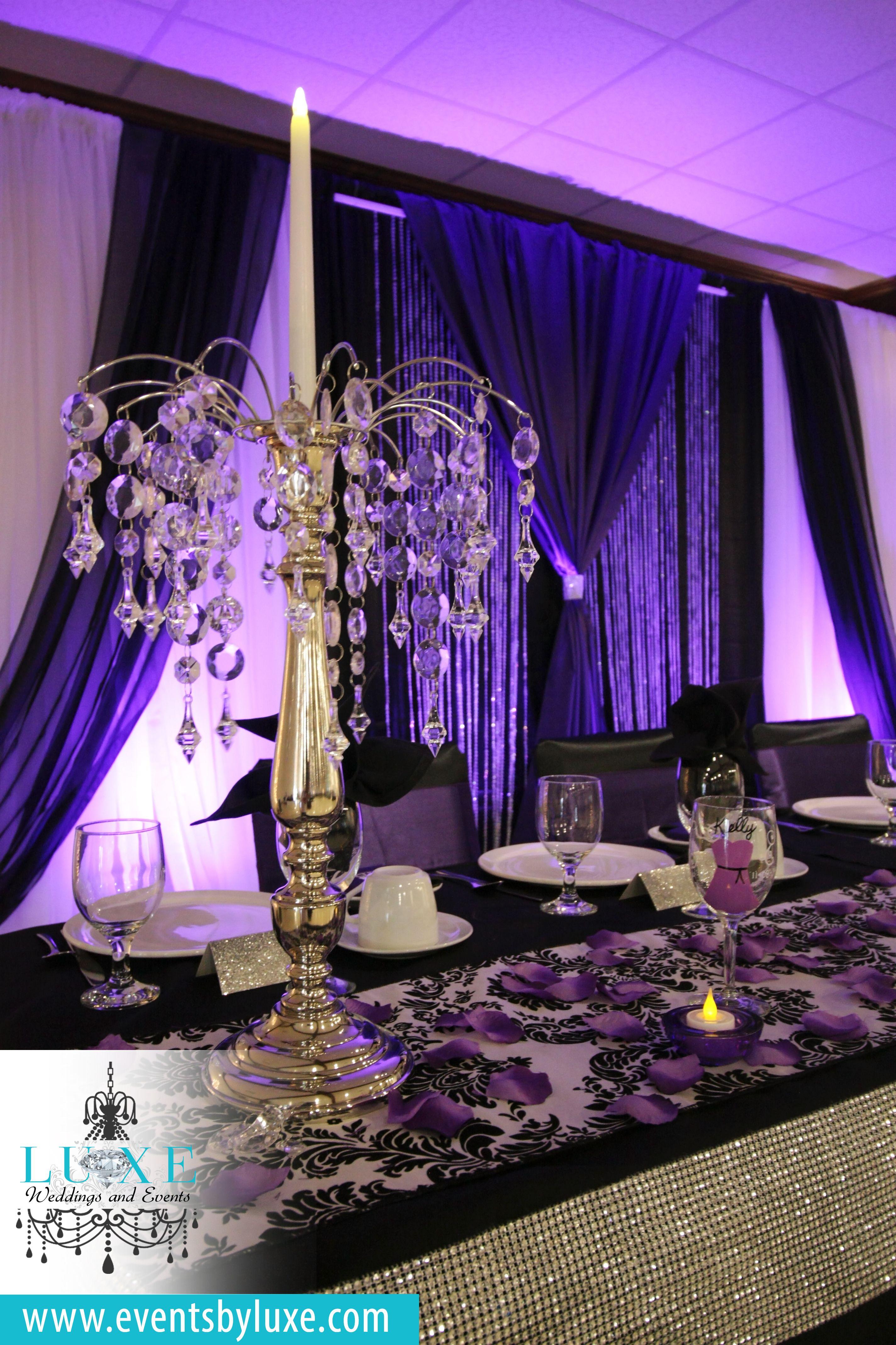 Purple And Black Wedding Backdrop White Damask Decor