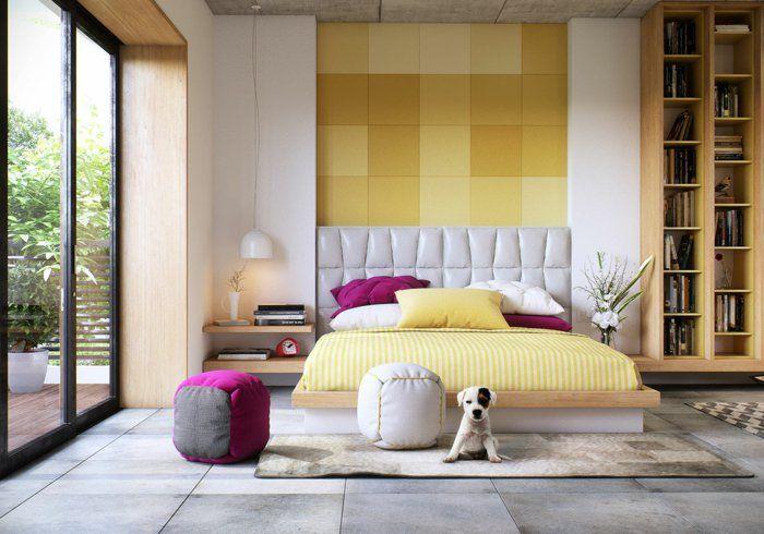 wohnideen schlafzimmer funktionaler bettrahmen frische wandgestaltung krasse akzente