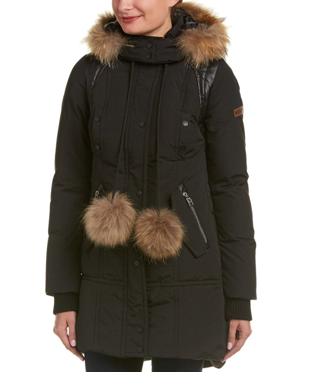 Madden Girl Women/'s Heavyweight Puffer Anorak Jacket with Sherpa Fur Lined Hood