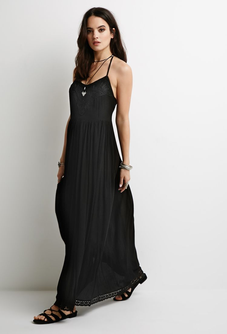 e9730e3c1d3 Embroidered Gauze Maxi Dress