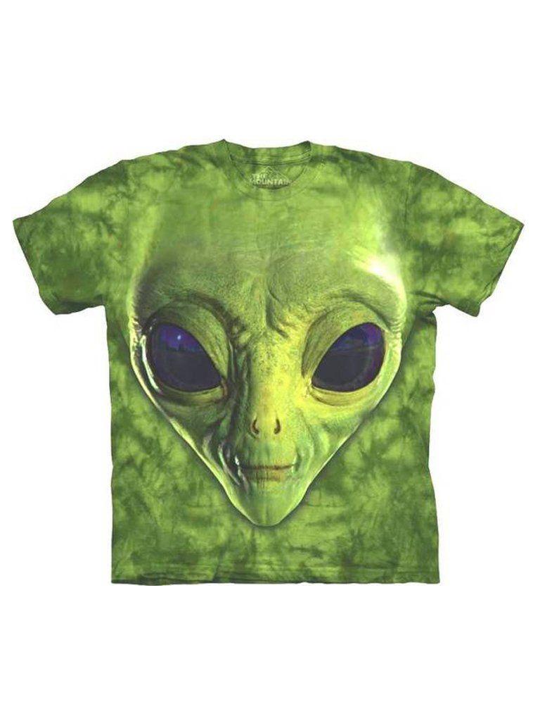 176f874ccad7 Green Alien Face T-Shirt Space