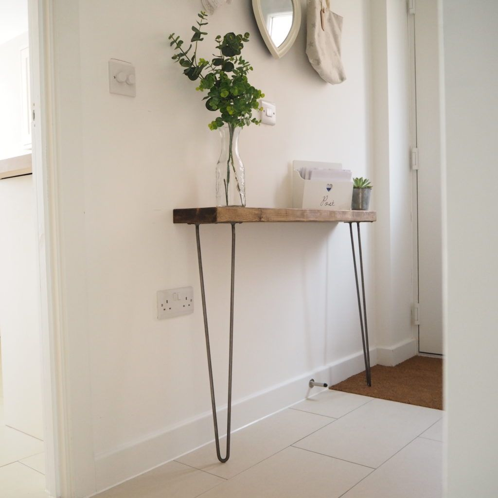 Rustic Narrow Console Table Shelf With Hairpin Legs Narrow