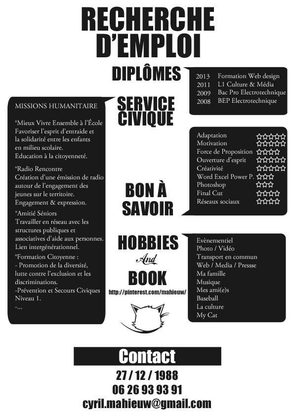 Epingle Par Dkjeunesse Sur Cv Originaux Cv Original Education A La Citoyennete Recherche Emploi