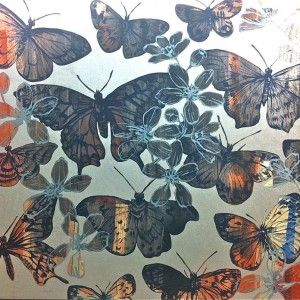 Orange and Blue Butterflies on Silver Leafing by David Bromley