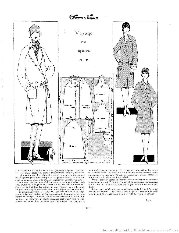Manteau de voyage (La Femme de France 01/01/1928) | 1920\'s patterns ...