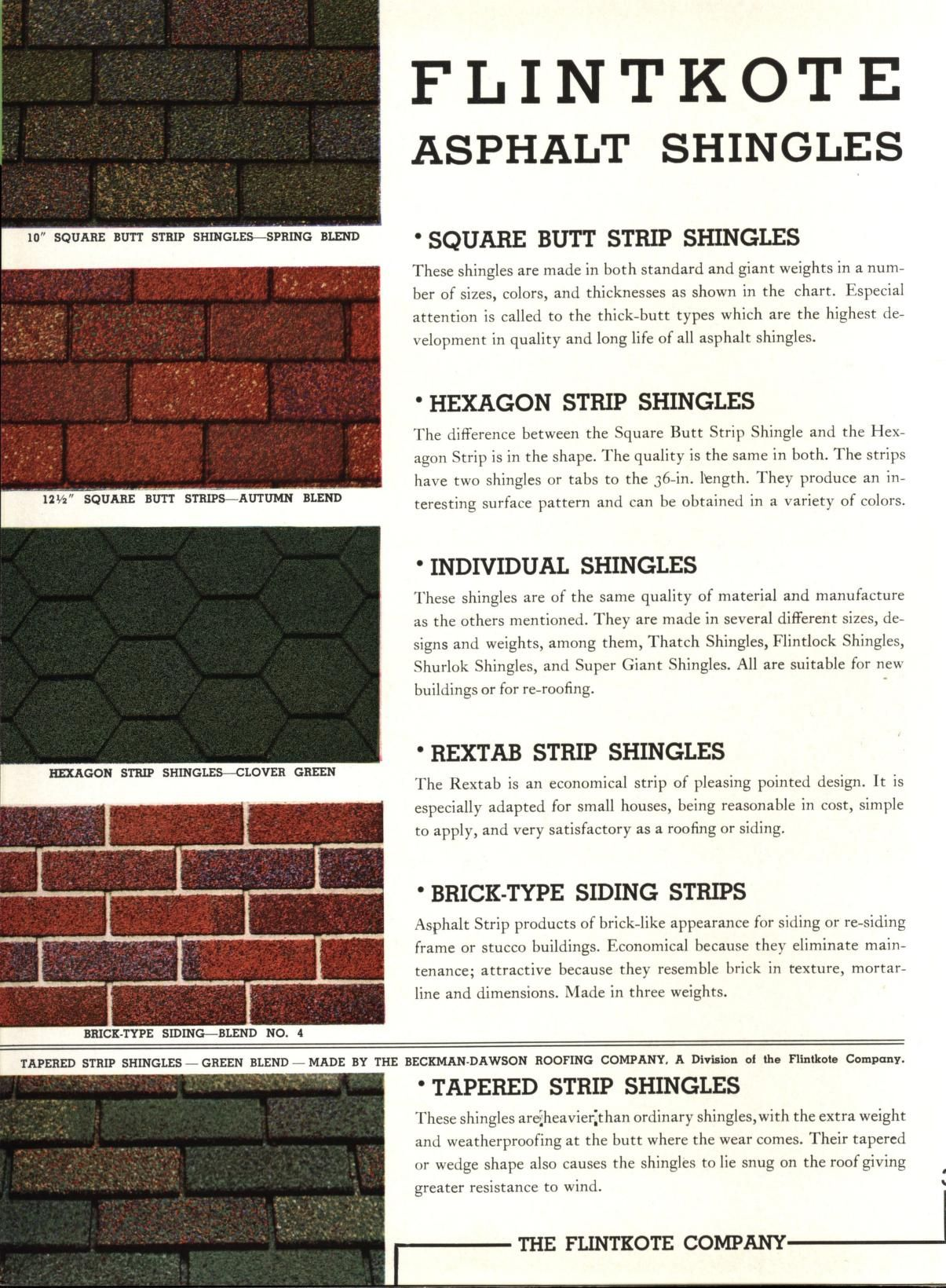Flintkote Architectural Catalog Of Shingles Roofings