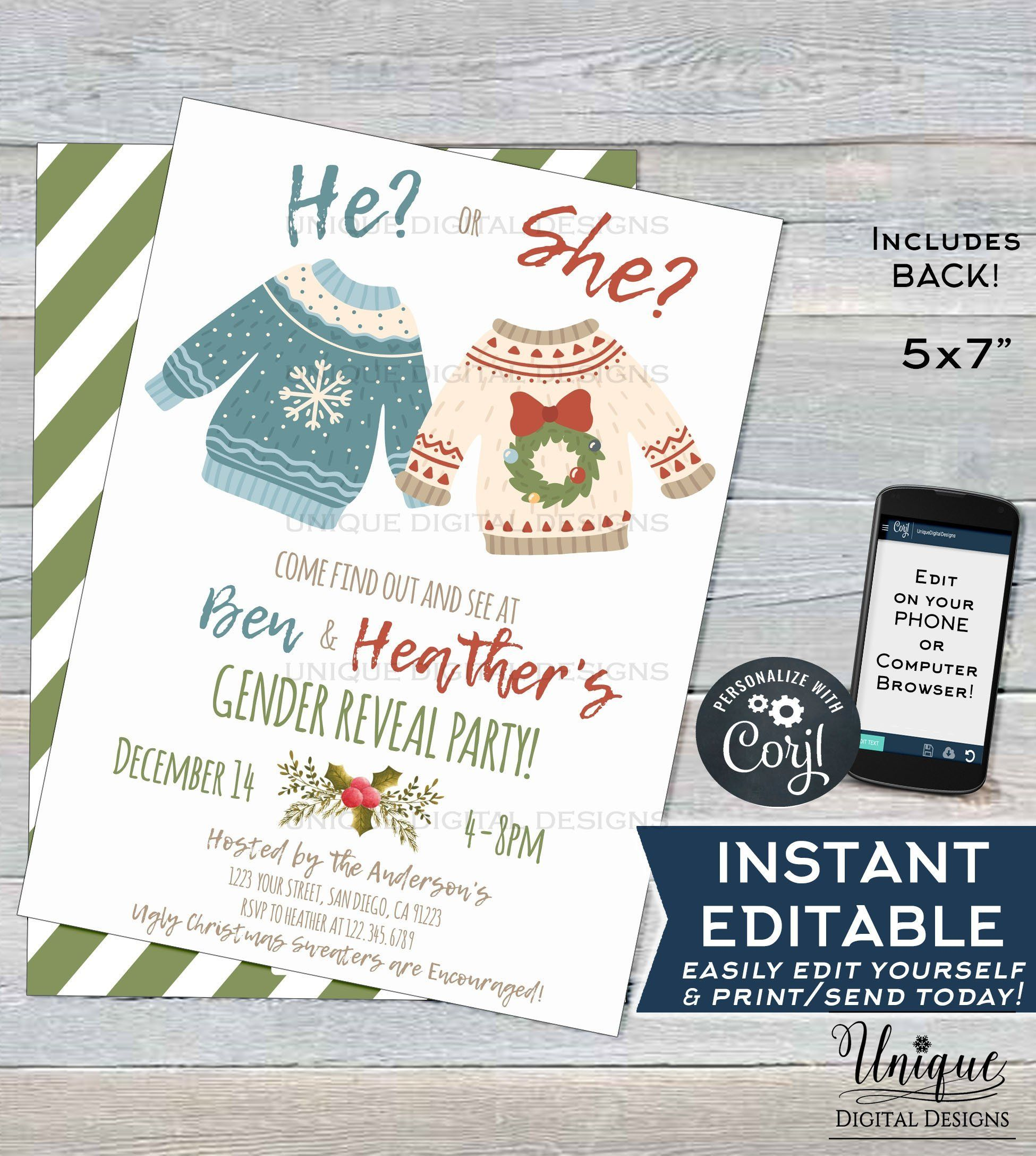 2183bbf0619f Find out what baby s gender with a Custom Ugly Christmas Sweater Gender  Reveal Party! We love this editable