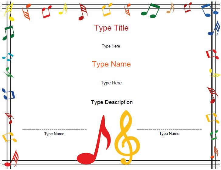 Printable Musical Certificates  Type In Names  Descriptions  So