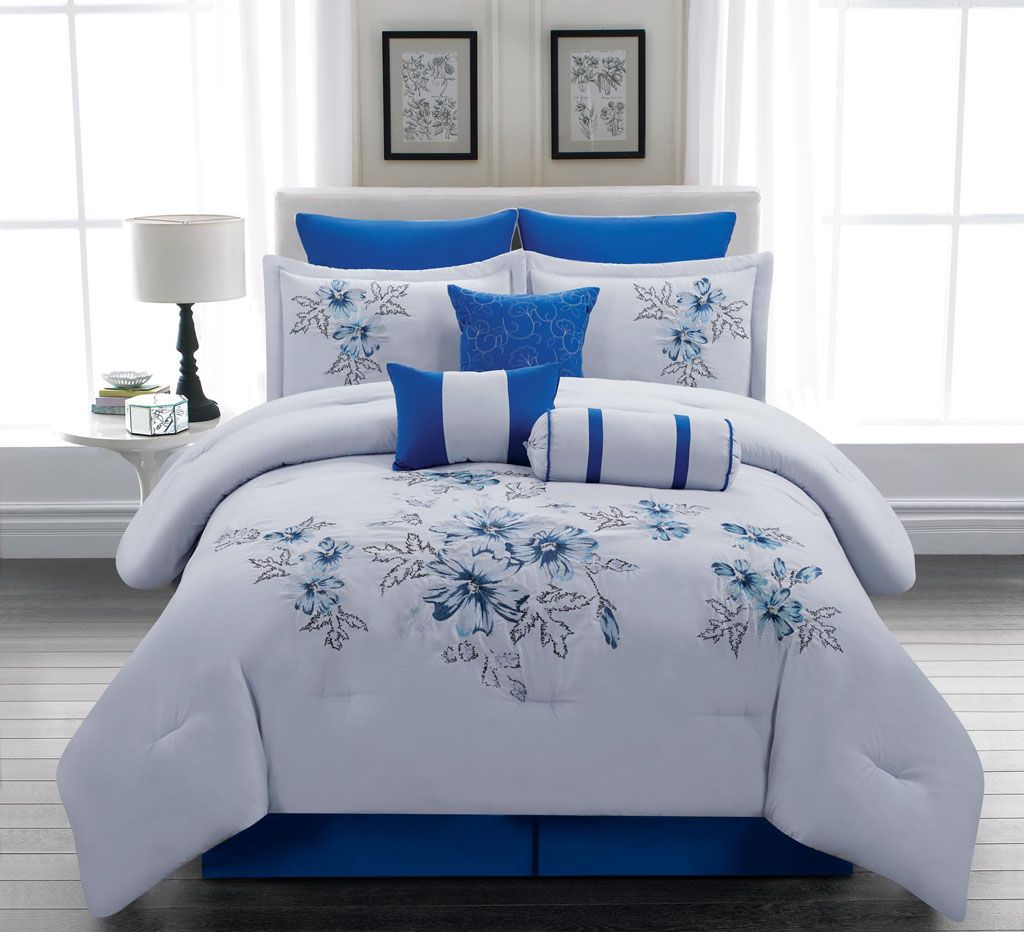Royal blue bedding queen - Royal Blue Bedding Sets Piece Queen Linnea Blue Comforter Set