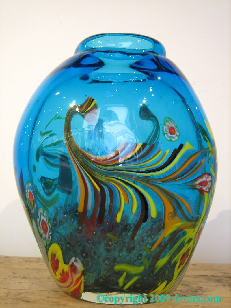 Vase De Murano Italian Murano Art Glass Vase With Blue Floral Glass Dale C