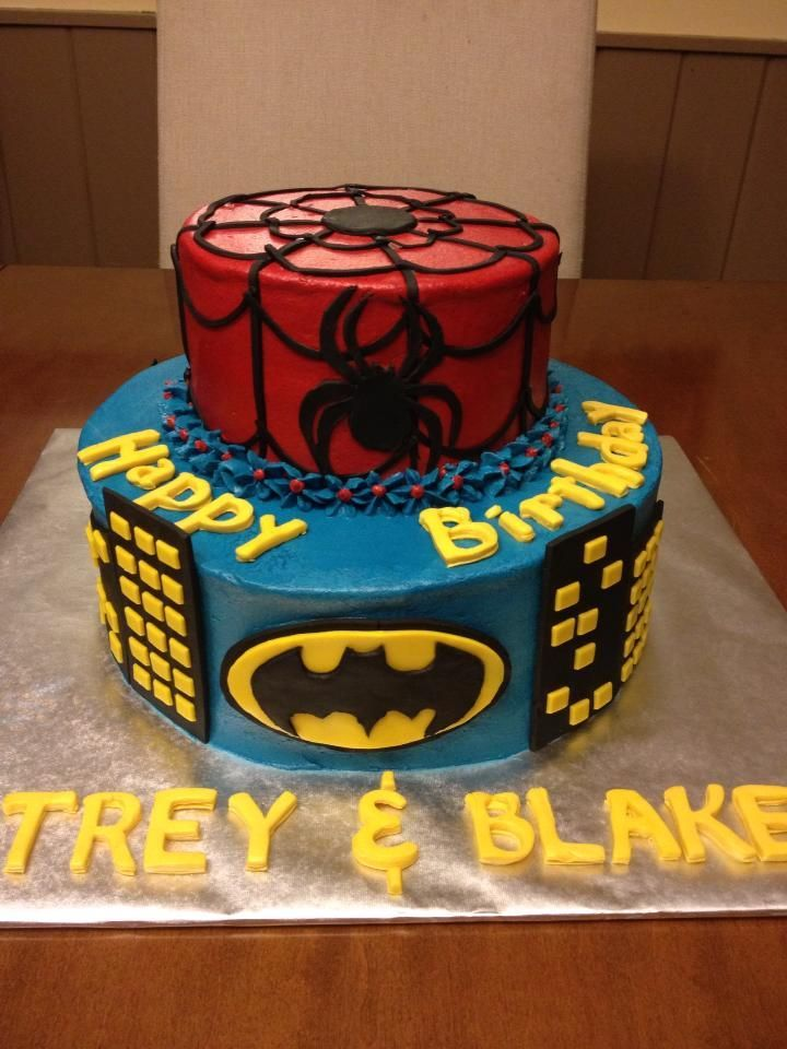 Spiderman And Batman Cake Ideas Spiderman Batman Cake