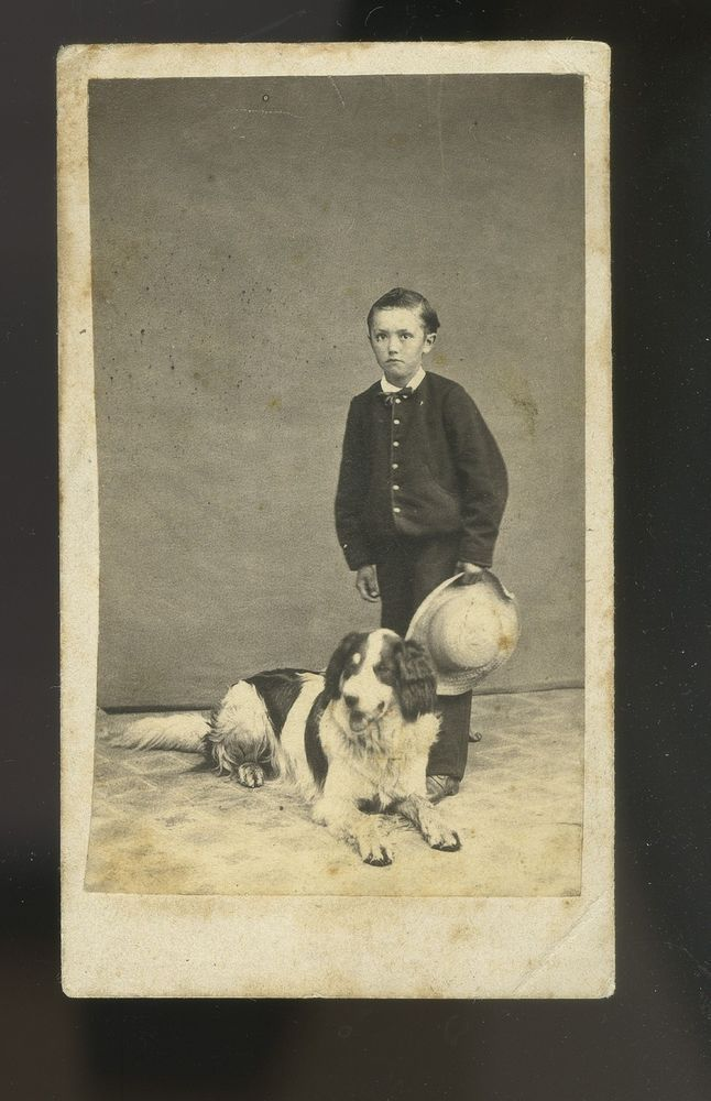 Early CDV Boy + Spaniel DOG In Studio- dogs have always been an integral part of photography's history. Dog photography has such deep roots.