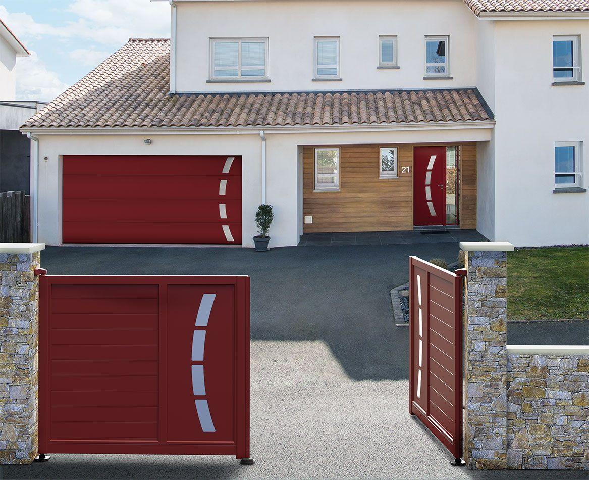 Porte Dentrée Aluminium Contemporaine Cotim Avec Son Portail Et - Porte de garage aluminium
