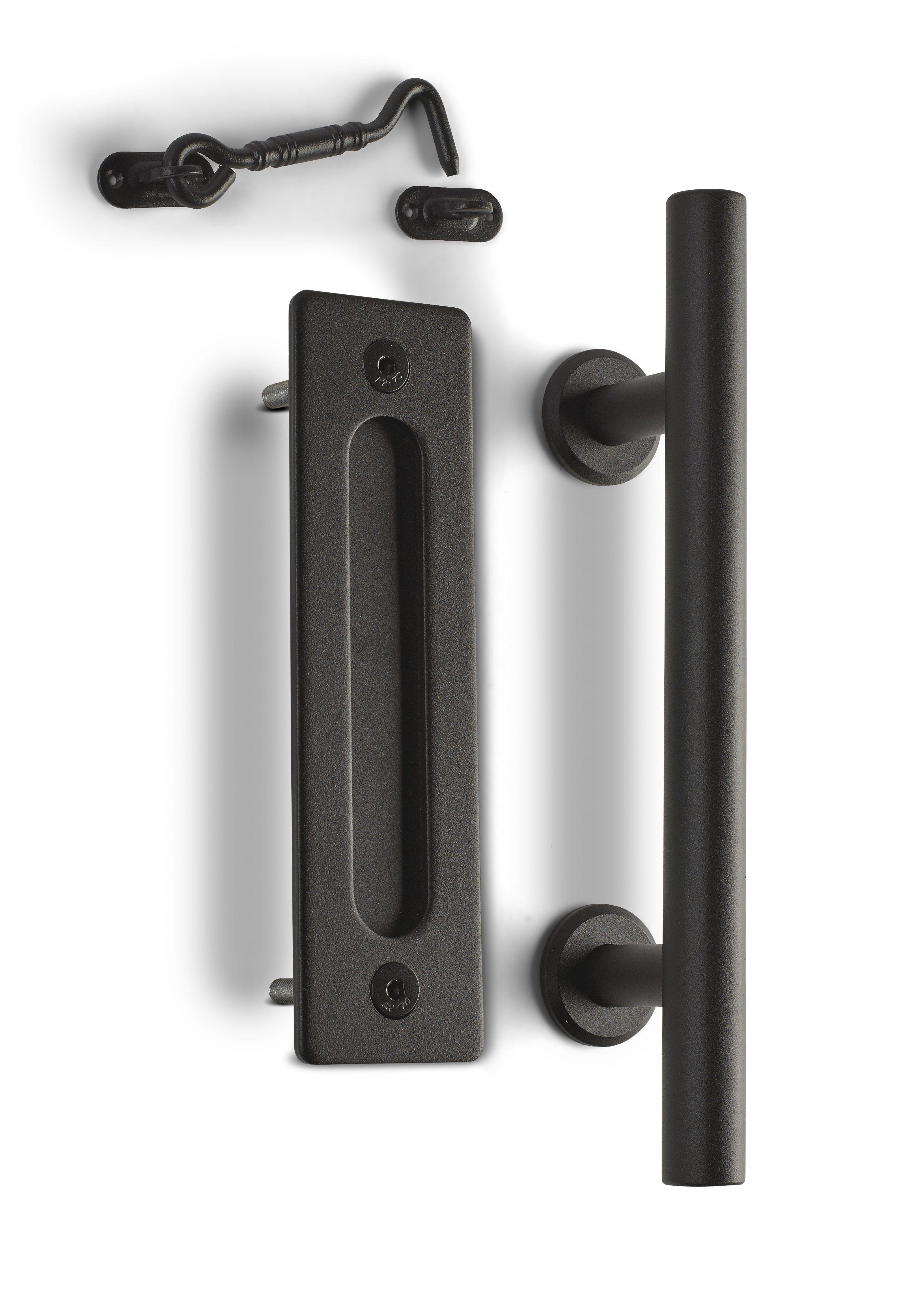 12 Round Barn Door Pull With Flush Plate Latch Matte Black In 2020 Barn Door Handles Hardware Barn Door Latch Barn Door Projects