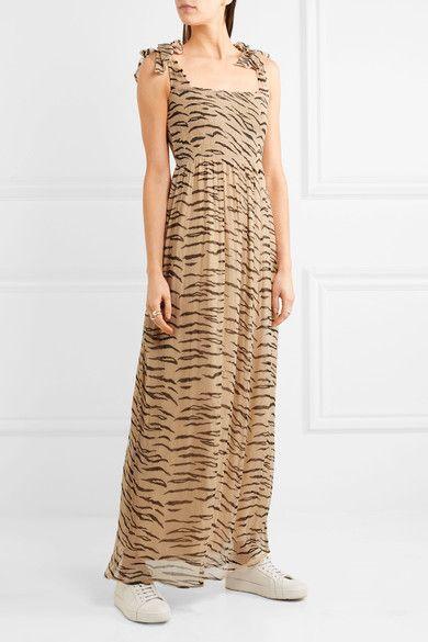 GANNI Whitman animal print plissé chiffon maxi dress